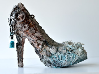 mixed media altered shoe