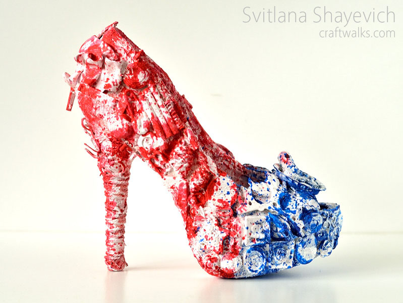 mixed media altered shoe patriotic