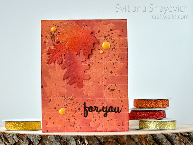 Fall card with several techniques to create background @s_shayevich #card #cas #fall #embossing #masking