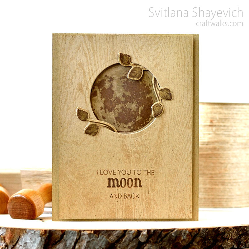 """""""wooden"""" card by @s_shayevich. Moon and leaves - @altenew. #altenew #card #cardmaking #handmade #diy #stamping"""