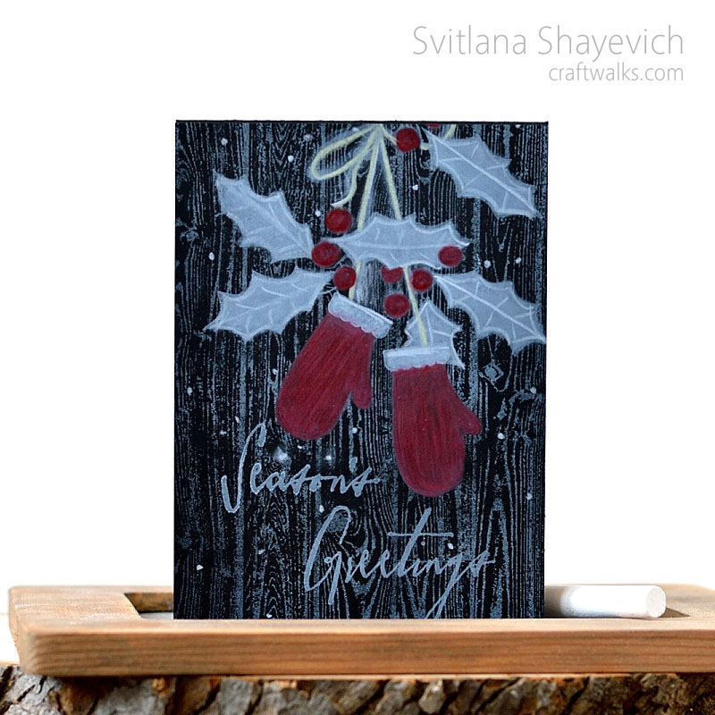 Black holiday card by @s_shayevich. White ink stamping and coloring. Stamps - @papertreyink and @timholtz.