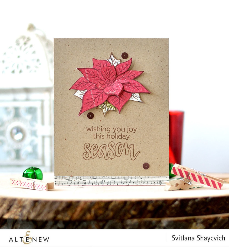 CAS Christmas card by @s_shayevich, stamps - @altenew. #card #cardmaking #altenew #diy #handmade #poinsettia #christmas