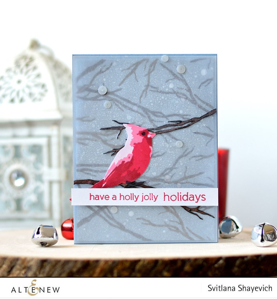 CAS Christmas card by @s_shayevich, stamps - @altenew. #card #cardmaking #altenew #diy #handmade #cardinal #christmas