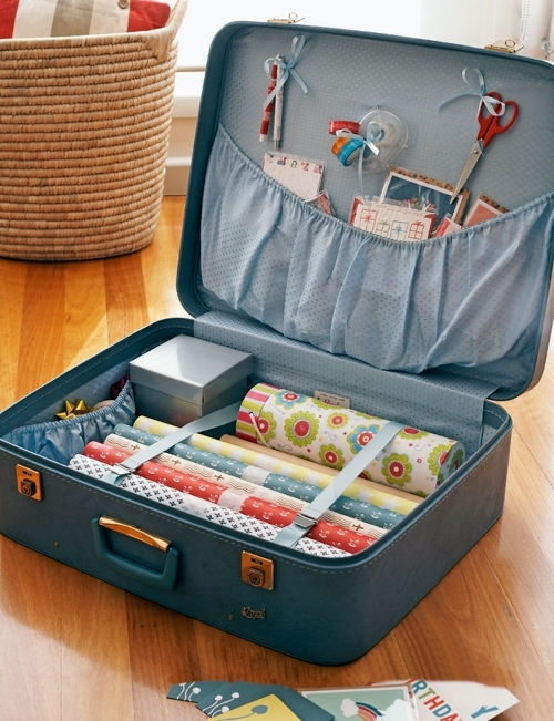 Sage N Frugal Organising Tip for Christmas_10 Beautiful Gift Wrapping Station Ideas_stool gift wrapping station_suitcase gift wrapping station