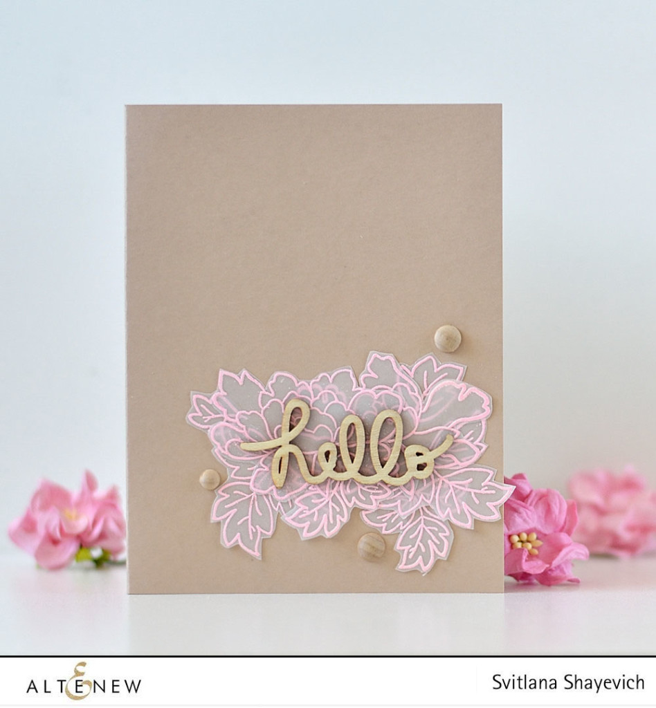 Clean and simple card by @s_shayevich. Embossing on vellum. @altenew and @freckledfawn supplies used. #card #cardmaking #papercrafts #handmade #diy