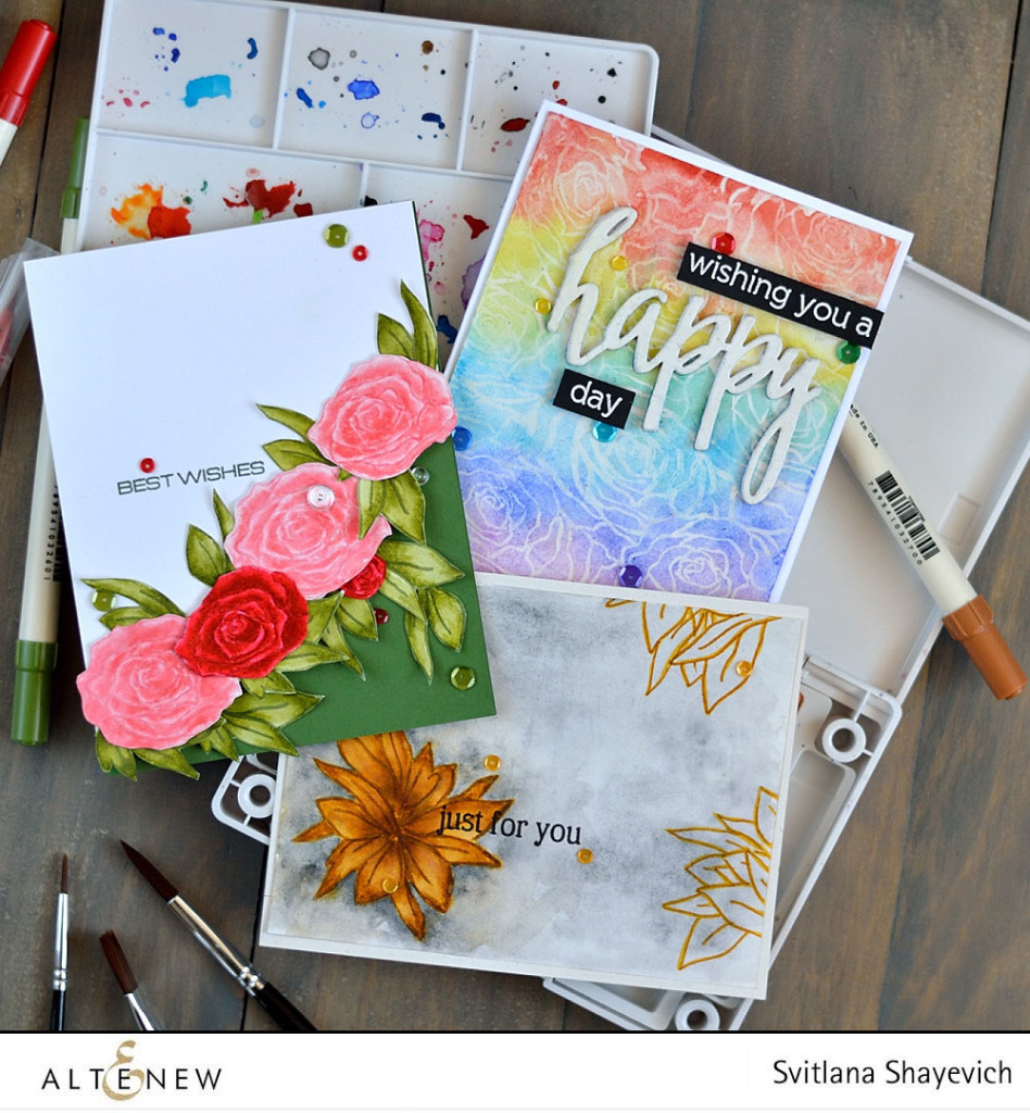 Three different ways to use @altenew Penned Rose stamps set. @s_shayevich #card #cardmaking #diy #papercrafts #handmade #altenew