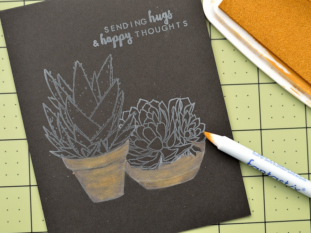 Create a chalkboard effect coloring stamped image with pigment inks. Card by @s_shayevich