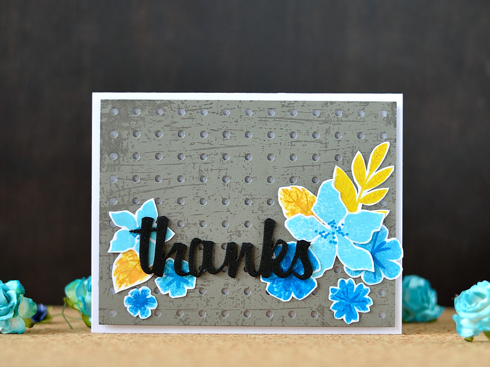 Create an unusual stamped result using satamp kissing technique. Card by @s_shayevich. MFT Modern Blooms, Pegboard die