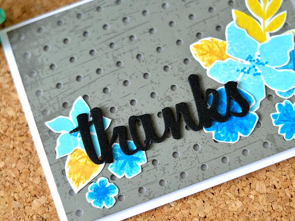 Create an unusual stamped result using stamp kissing technique. Card by @s_shayevich. MFT Modern Blooms, Pegboard die