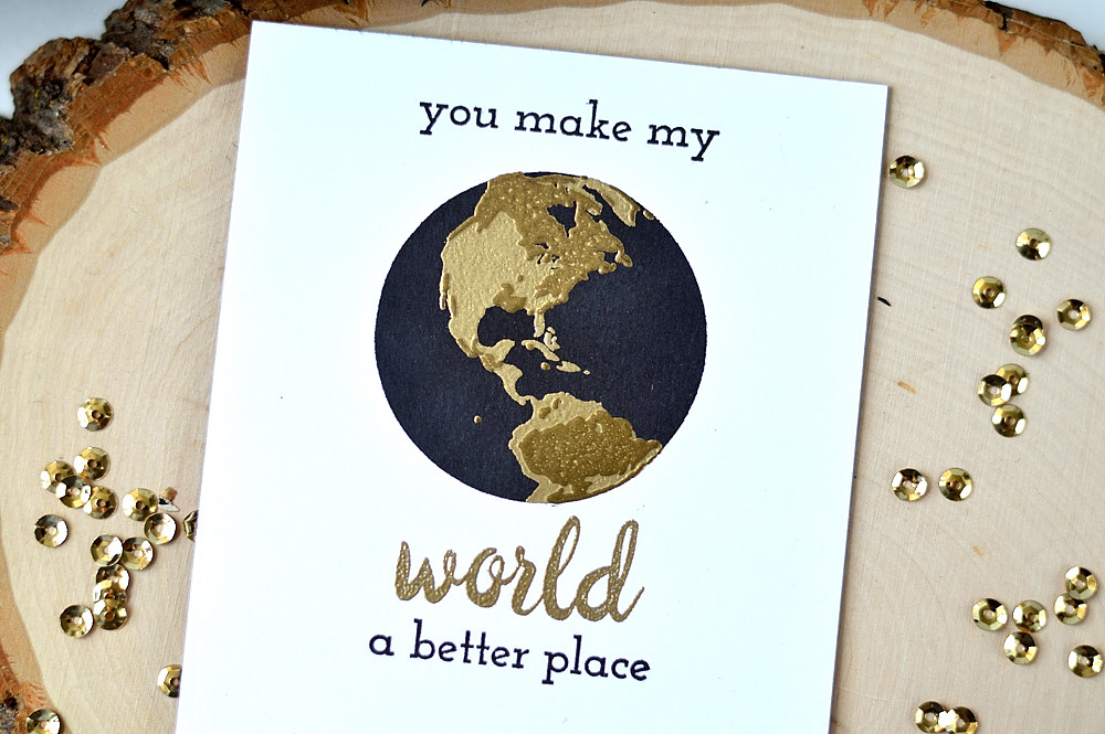 Double embossing, gold and black with Altenew Big World. Card by @s_shayevich