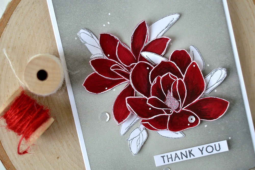 Gouache Flowers with Altenew Magnolias For Her. Card by @s_shayevich