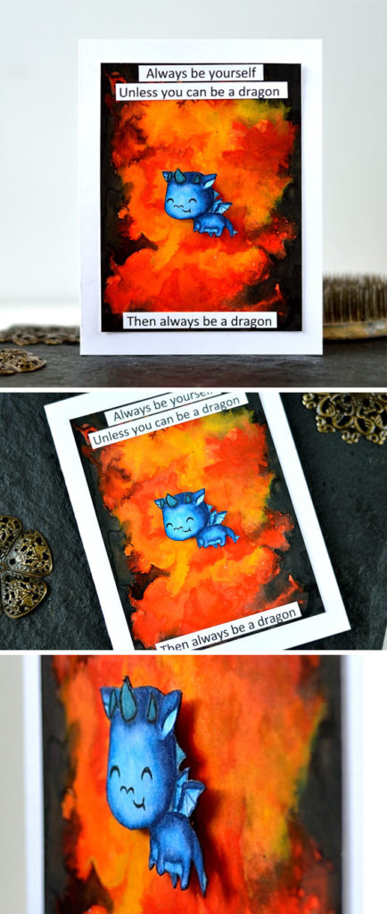 Adorable baby dragon is still a dragon. Watercolor flame background. Dragon - Hot Stuff from Clearly Besotted. Card by @s_shayevich.