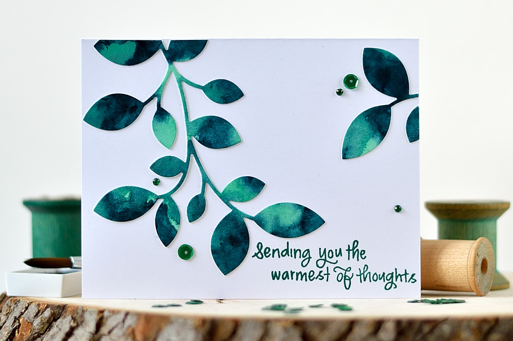 Watercolor Background and SSS Clustered Leaves. Card by @s_shayevich.