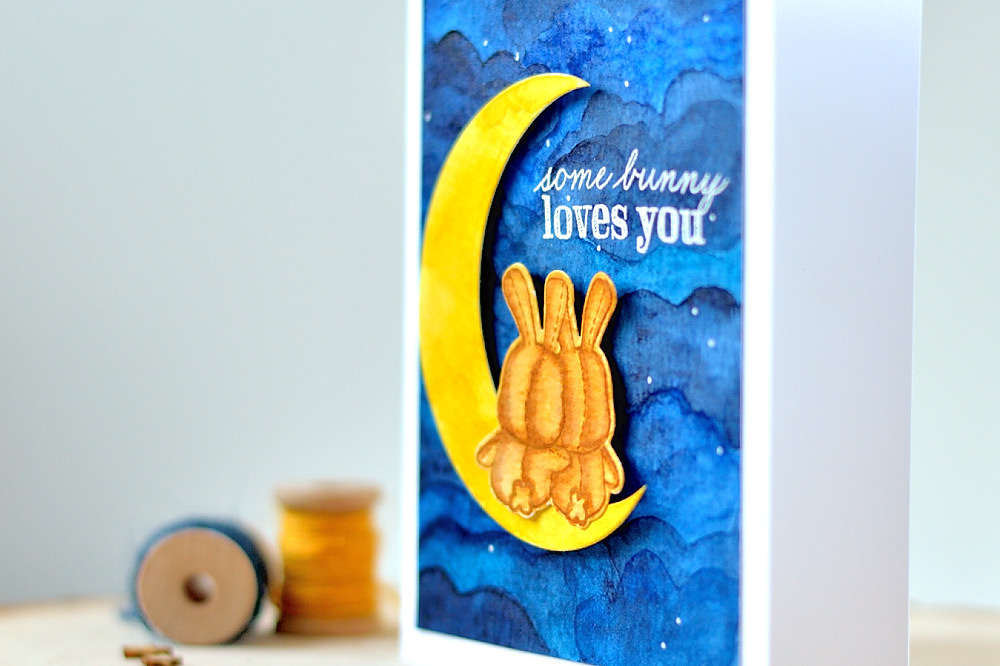Honey Bunny from Mama Elephant, moon and watercolor background. Card by @s_shayevich