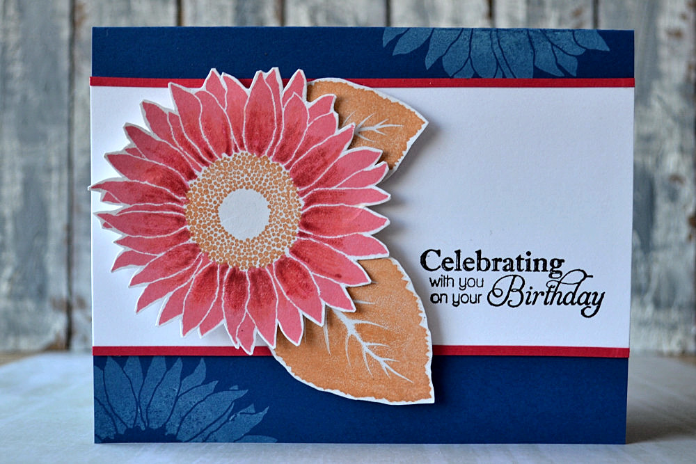 White ink stamping, sunflower. Card by @s_shayevich