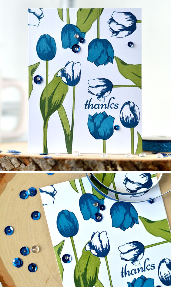 Tulips layout with Altenew Tulip stamp set. Card by @s_shayevich