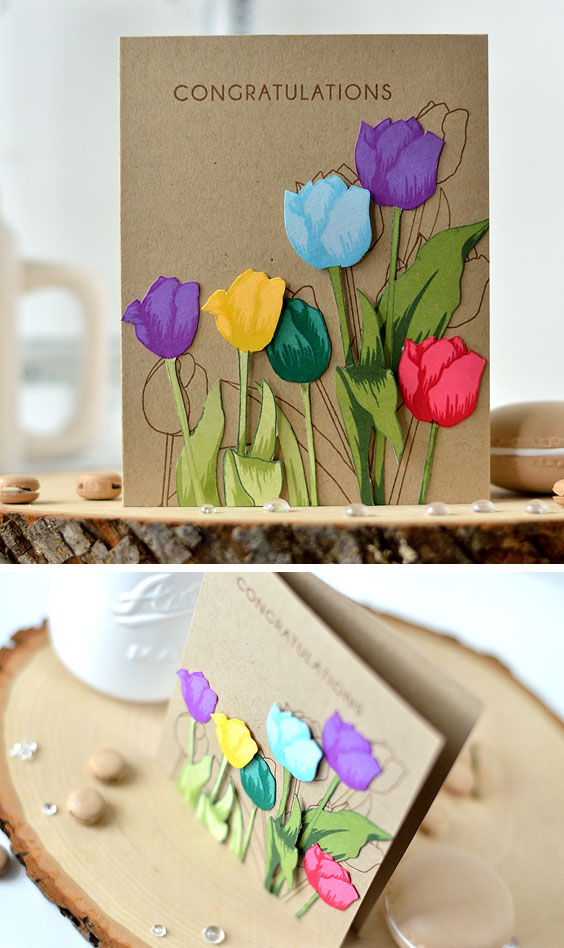 Colorful tulips on kraft. With Altenew Tulip. Card by @s_shayevich.