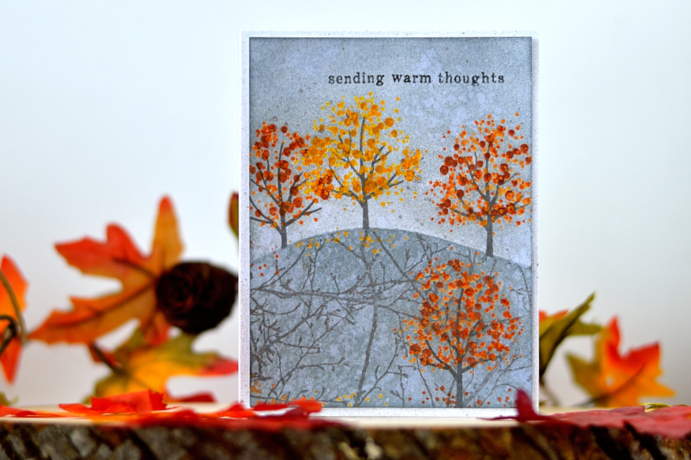 Gloomy Fall Card. Embossing resist and simple masking and inking with @heroarts Color Layering Fall Tree set. Card by @s_shayevich