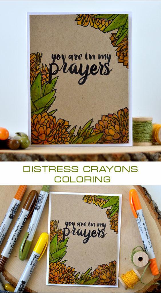 Prayers card featuring Distress Crayons coloring on Kraft cardstock