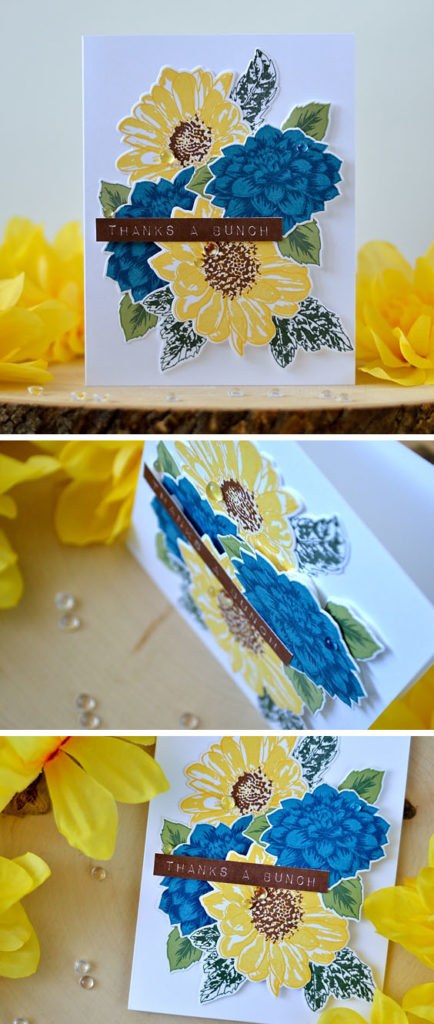 Dahlia and Sunflower Bouquet with Altenew stamps and dies. Card by@s_shayevich