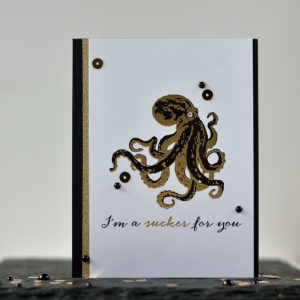 Black and Gold Color Layering Octopus