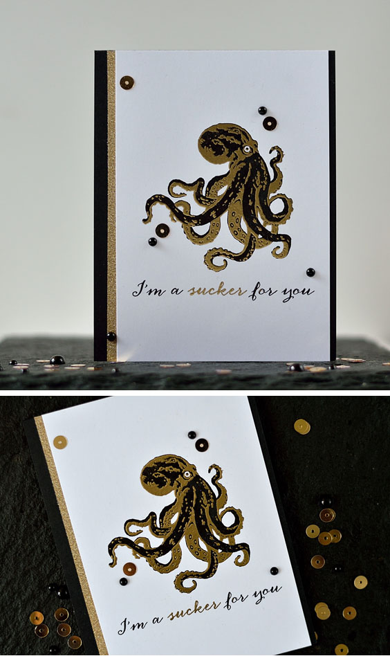 Hero Arts Layering Octopus made in black and gold is something unusual yet elegant and chic. Card by @s_shayevich