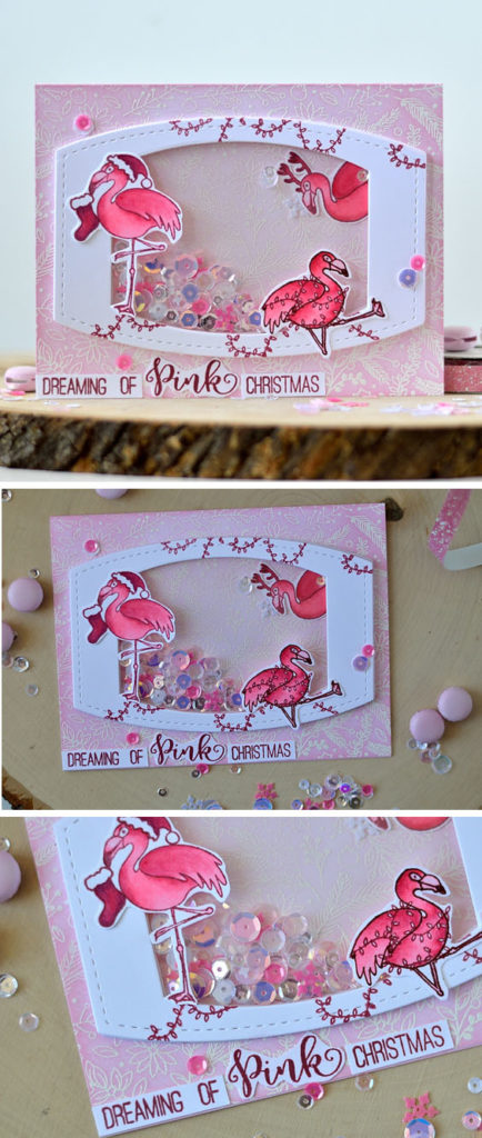 Pink Christmas shaker card. Stamps and sequins from Studio Katia. Card by @s_shayevich