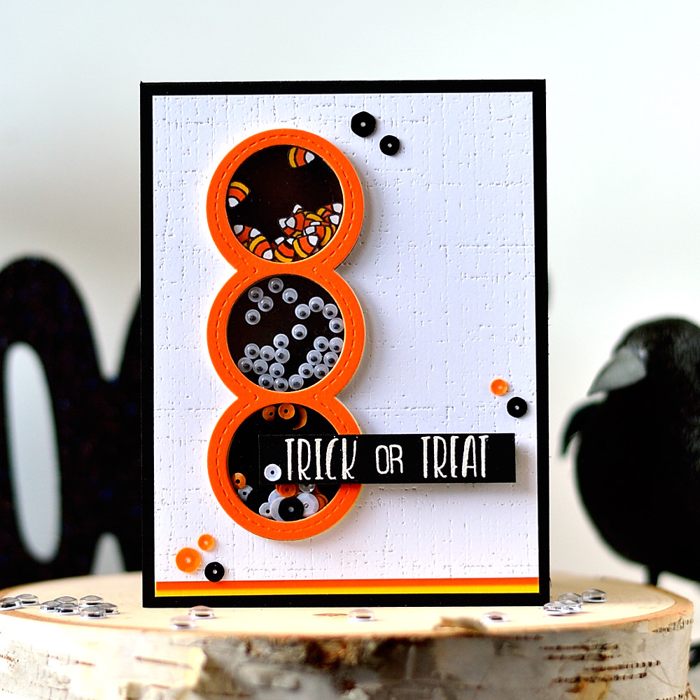 Halloween shaker card. Put candy corn, sequins and googly eyes inside to add more fun. Card by @s_shayevich