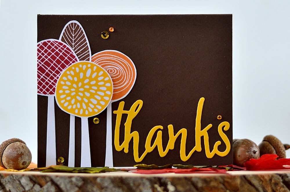 Fall Scene card using Altenew Simple Flowers. Card by @s_shayevich