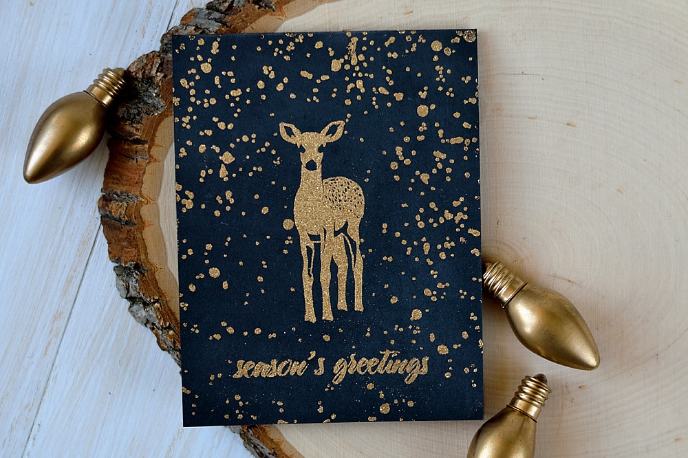 Altenew Modern Deer, Gold Tinsel embossing on Black. Card by @s_shayevich