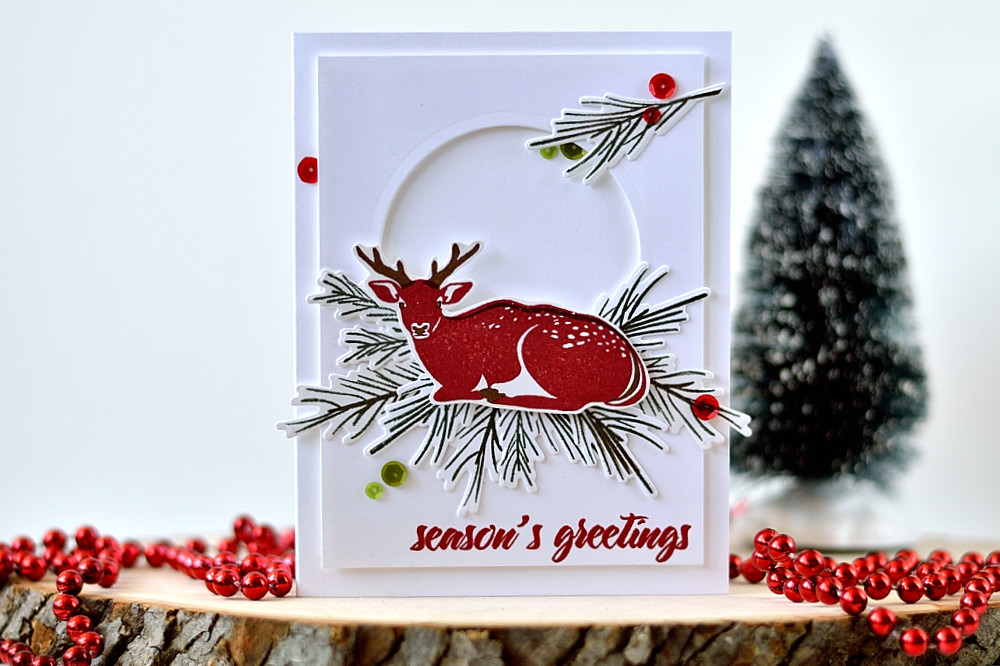 Altenew Modern Deer and Pine Branches. Card by @s_shayevich