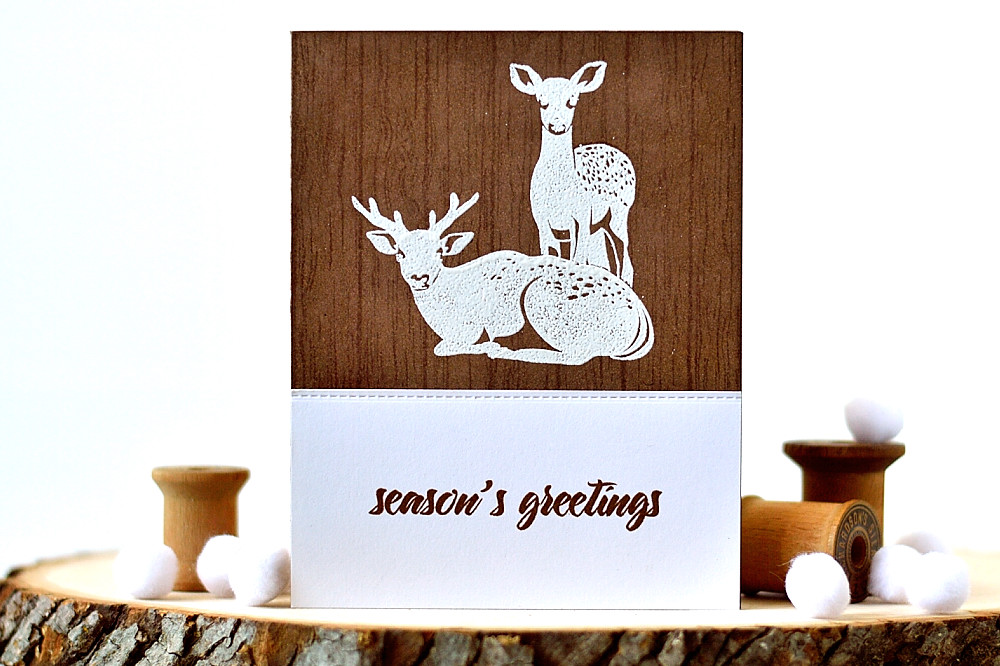 Altenew Modern Deer on Woodgrain Background. card by @s_shayevich