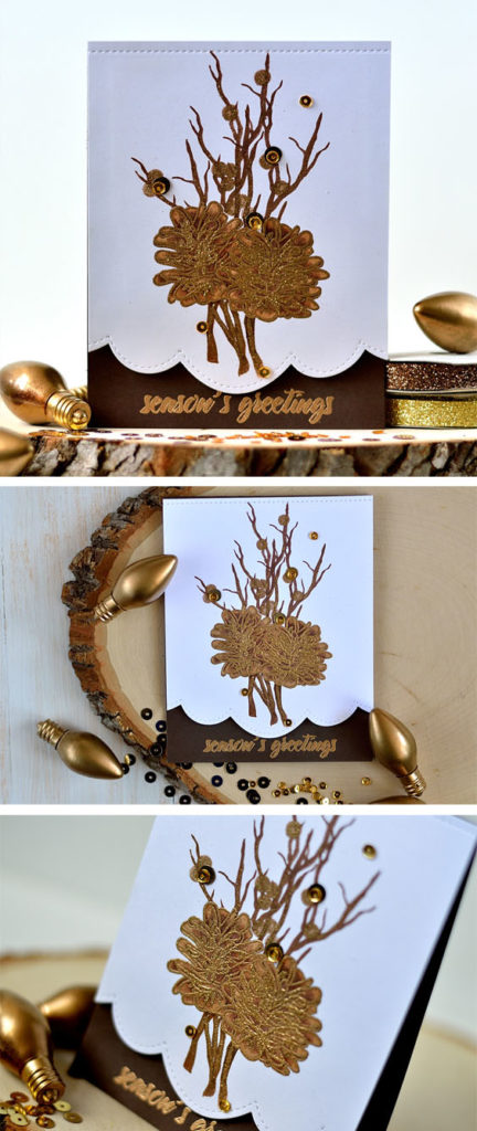 Brass embossed pinecones and branches. Altenew stamps. Card by @s_shayevich