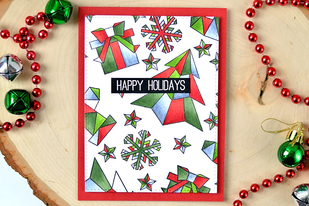 Create a fun and unusual holiday card using Origami Winter set from Studio Katia. Card by @s_shayevich
