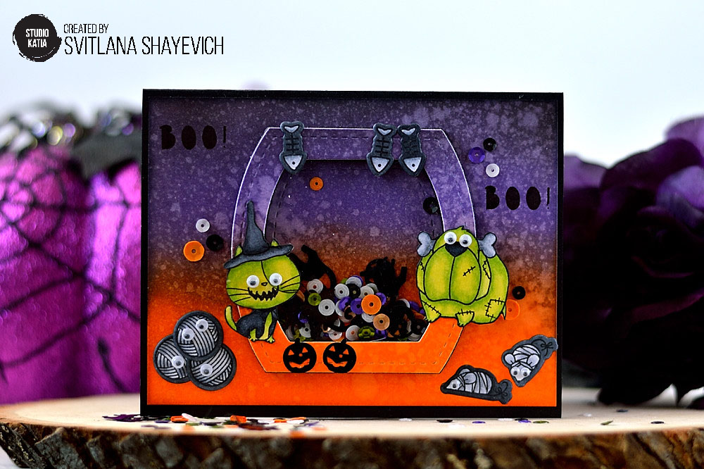 Wicked Halloween Shaker card, dies and sequins from Studio Katia. Card by @s_shayevich