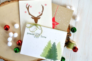 \Learn how to make to make quick, clean and simple handmade holiday cards using Altenew Festive Silhouettes stamp set. Cards by @s_shayevich\