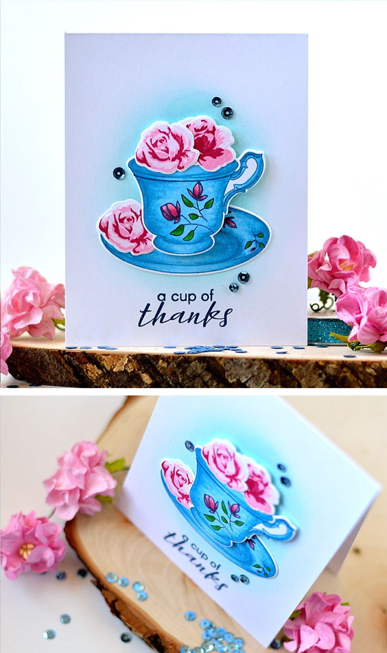 Altenew Vintage Teacup. Cards by @s_shayevich