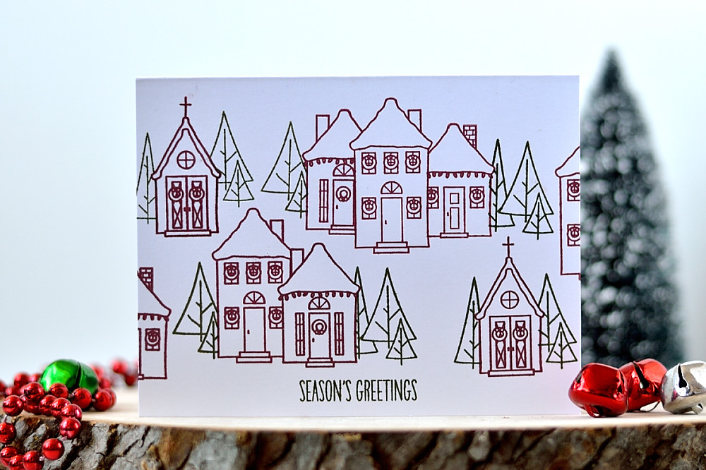 Simple card design with Wplus9 Holiday Houses stamp set. Card by @s_shayevich