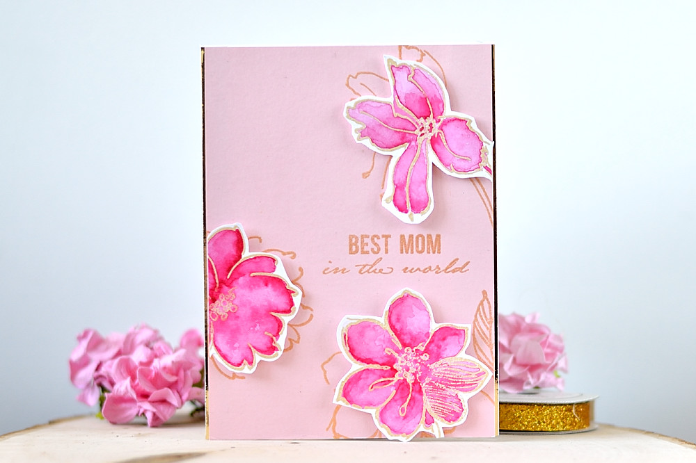Gold embossing and watercolor is a perfect match. With Altenew Wild Hibiscus. By @s_shayevich