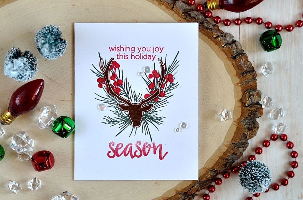 Antler Christmas Wreath card using Altenew holiday stamps. Card by @s_shayevich