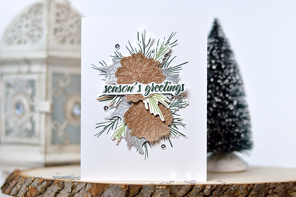 Embossing on glitter paper. Altenew Poinsettia and Pine. Card by @s_shayevich