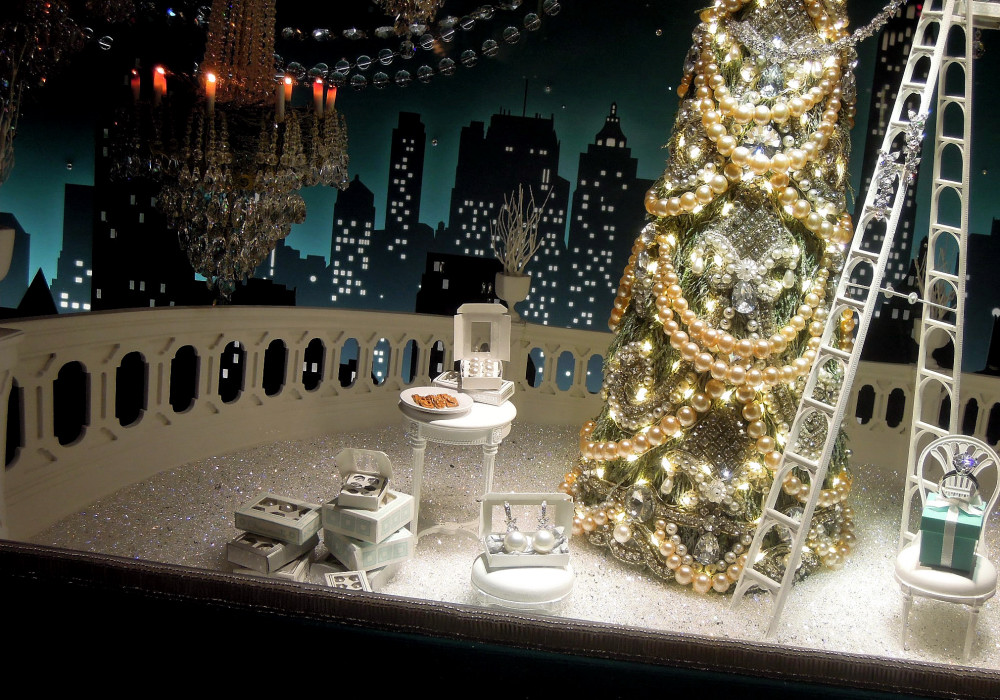 City Walks, Christmas in New York 2016. part 5. Tiffany Holiday Windows
