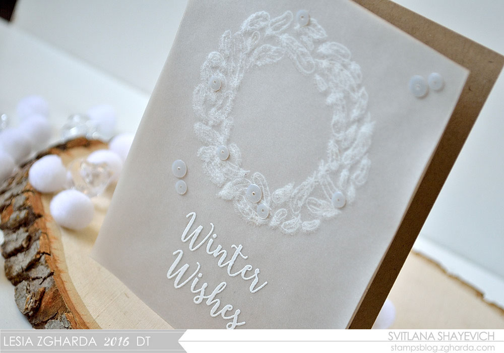 Make a Fluffy Feather Wreath by adding flock to your stamping. Card by @s_shayevich