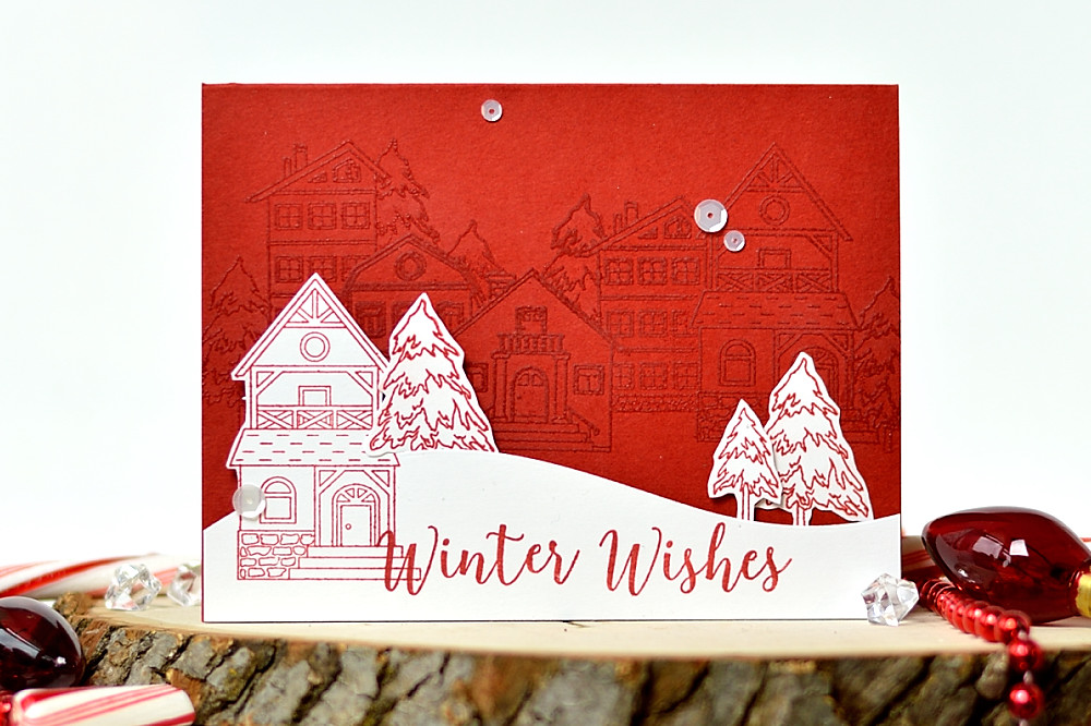 Svitlana Shayevich Embossed Holiday Houses Scene. Card by @s_shayevich