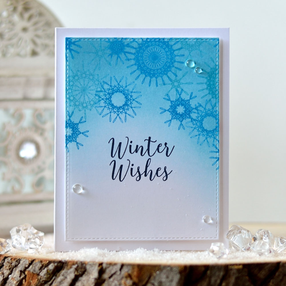 Simple one tone card with snowflakes background using Lesia Zgharda stamps. Card by @s_shayevich
