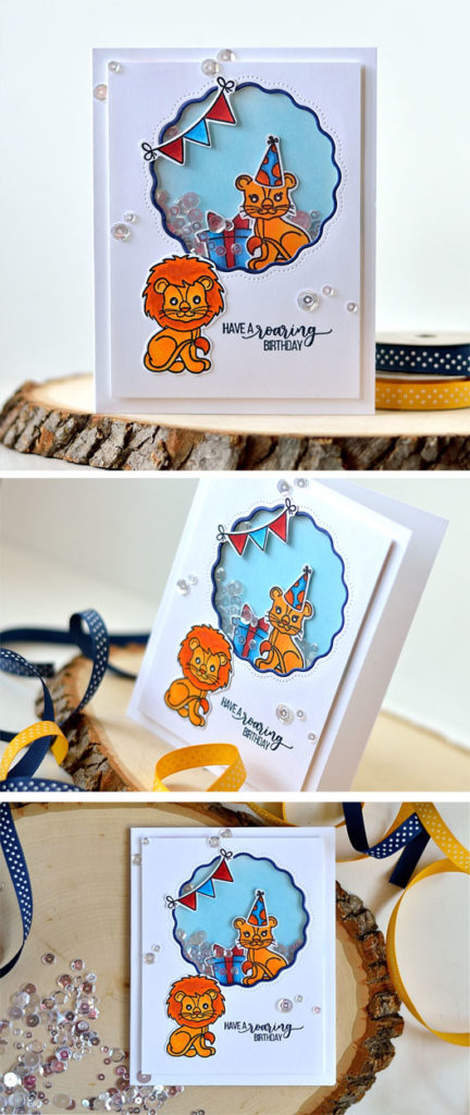Birthday Lions Shaker card. By @s_shayevich