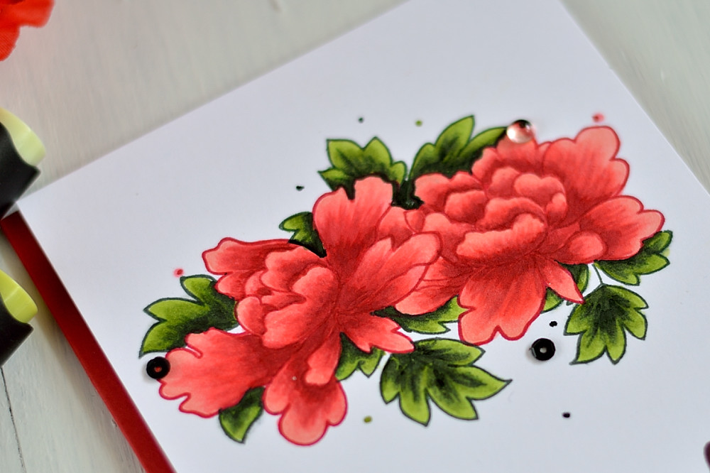 Altenew Peony Scrolls colored with Artist markers. Card by @s_shayevich