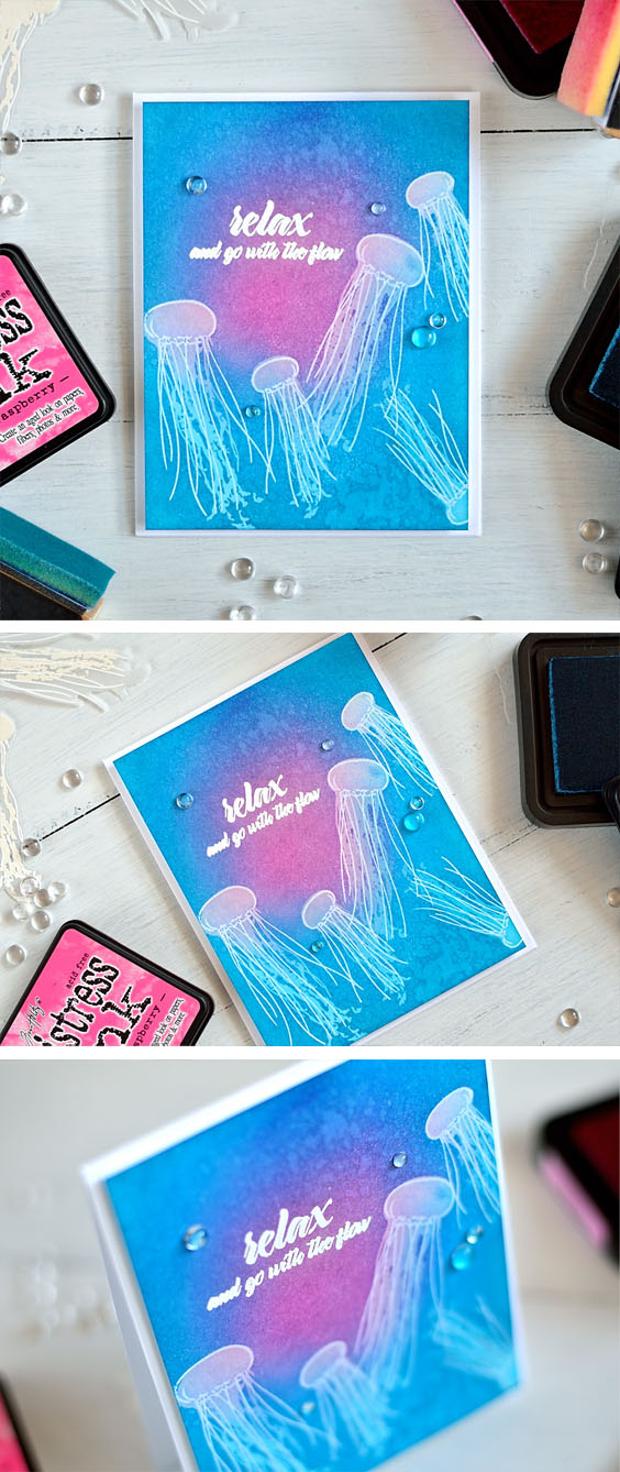Altenew Painted Jellyfish, layered clear embossing and inking. Card by @s_shayevich