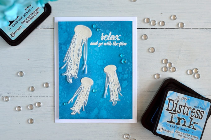 Altenew Painted Jellyfish, white embossing on vellum. Card by @s_shayevich