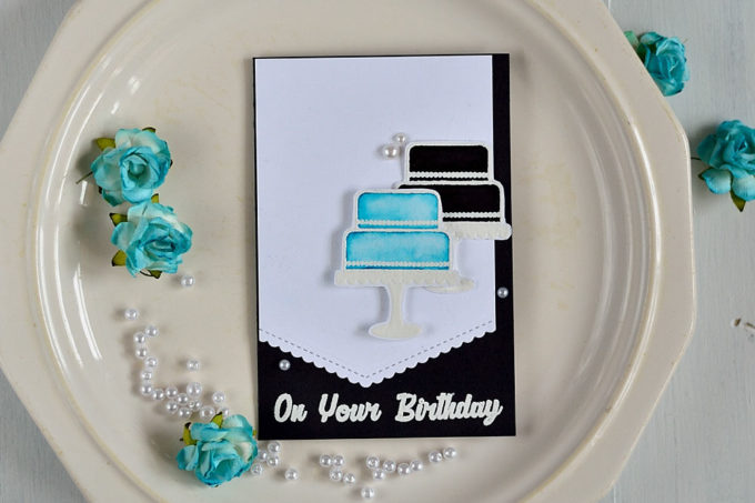 Create an elegant and classic card using white and black color scheme with a pop of color. Card by @s_shayevich